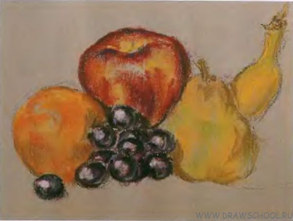 Корзина с фруктами карандашом поэтапно