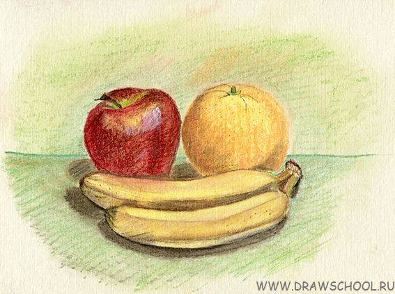 Натюрморты с фруктами в рисунках детей