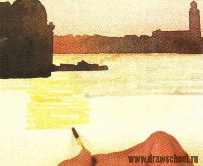 Как рисовать акварелью закат